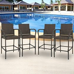 SUPER DEAL Upgraded Wicker Bar Stool Chairs Outdoor Backyard Rattan Chair w/Iron Frame, Armrest  ...
