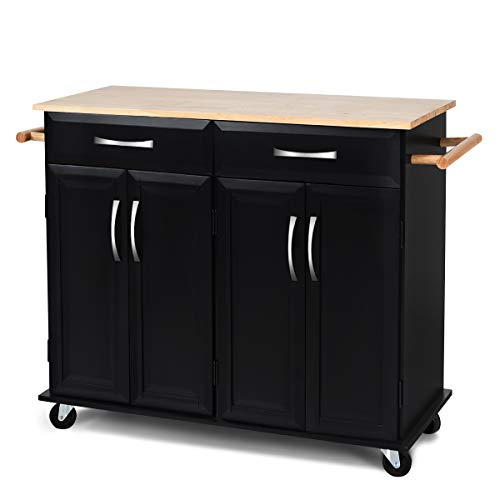 Giantex Kitchen Island Cart Wood Trolley Rolling Utility Cart w/ 2 Cabinets, 2 Drawers,2 Towel R ...
