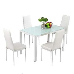 Bonnlo Dining Table with Chairs Dining Set for 4 Kitchen Dining Room Table and 4 Chairs White Gl ...