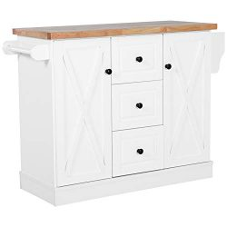 HOMCOM Wooden Mobile Kitchen Island Cart with Drawers and Wheels – White