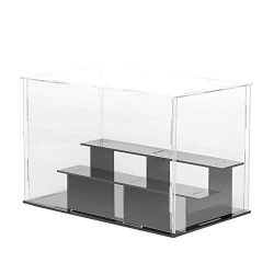 Lanscoe 3 Steps Clear Acrylic Display Case Countertop Box Cube Organizer Stand Dustproof Protect ...
