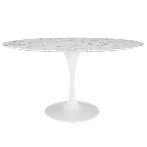 Modway Lippa 60″ Mid-Century Modern Kitchen and Dining Table with Oval Artificial Marble T ...