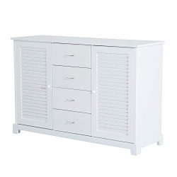HOMCOM 47″ Bathroom Cabinet Buffet Sideboard with Drawers and Shutters – White