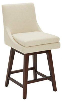Stone & Beam Alaina Contemporary High-Back, Swivel Seat Counter Stool, 39″H, Hemp