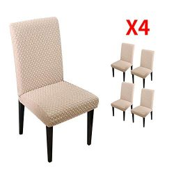YIMEIS Comfort Stretch Dining Room Chair Covers, Knitted Diamond Lattice Dining Chair Protector, ...