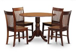 East West Furniture DLNO5-MAH-W 5-Piece Kitchen Table and 4 Chairs Set, Mahogany Finish, Wood Seat,