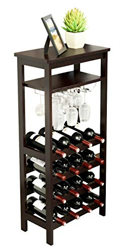 URFORESTIC Bamboo Wine Rack Free Standing Wine Holder Display Shelves with Glass Holder Rack, 16 ...