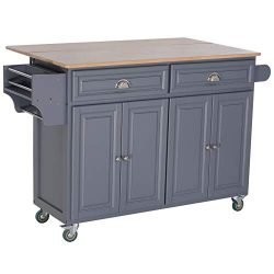 HOMCOM Rolling Oak Wood Drop-Leaf Kitchen Island Cart with Storage and Butcher Block – Grey