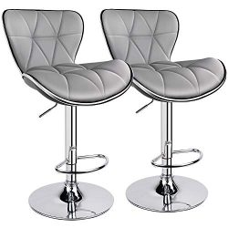 Leopard Shell Back Adjustable Swivel Bar Stools, PU Leather Padded with Back, Set of 2 (Light Grey)