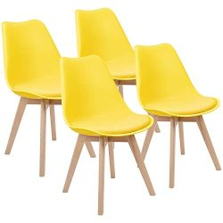 Furmax Mid Century Modern DSW Dining Chair Upholstered Side Chair with Beech Wood Legs and Soft  ...