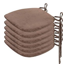 Nobildonna 6 Pack Brown 17″ x 16″ Memory Foam Chair Pad with Ties Kitchen Dining Hom ...