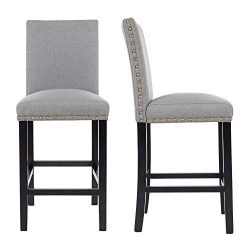 GOTMINSI Bar Stools with Nailheads, 24″ Upholstered Bar Stools,Counter Height Bar Chairs w ...
