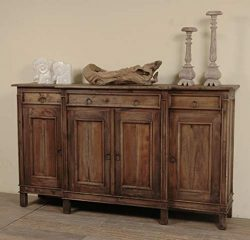 Sunset Trading CC-CAB1113S-RW Shabby Chic Cottage Dark Wood Sideboard, Four Door, Raftwood