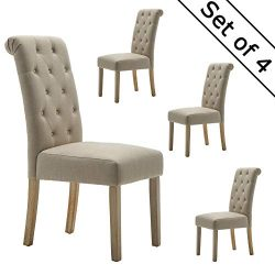 LSSBOUGHT Button-Tufted Classic Accent Dining Chairs with Solid Wood Legs, Set of 4 (Tan)