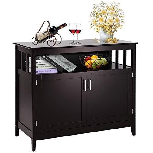 Costzon Kitchen Storage Sideboard Dining Buffet Server Cabinet Cupboard, Free Standing Storage C ...