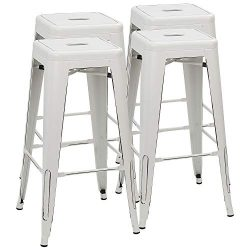 Furmax 30 Inches Metal Bar Stools High Backless Stools Indoor-Outdoor Stackable Stools Set of 4  ...