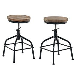 Joelgium Rustic Industrial Swivel Bar Stools Set of 2, Adjustable Height Stools for Kitchen Coun ...
