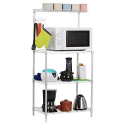 LANGRIA 3 Tier Baker's Rack, Microwave Stand Kitchen Oven Rack with Wire Mesh Shelves 4-Si ...