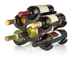 AdirHome Wooden Wine Rack – 6 Bottle (Espresso)