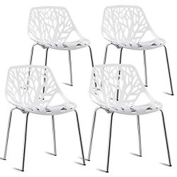 Giantex Set of 4 Modern Dining Chairs Birds Nest Set Modern Stackable Plastic Hollow-Out Geometr ...