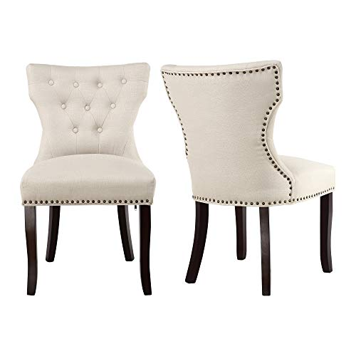 LSSBOUGHT Set of 2 Fabric Dining Chairs Leisure Padded Chairs with Brown Solid Wooden Legs,Naile ...