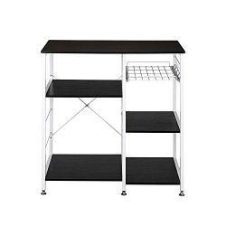Tenozek Kitchen Baker's Rack Wood Microwave Stand Kitchen Island Storage Cart Utility Stor ...