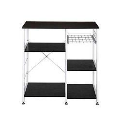 Tenozek Kitchen Baker's Rack Wood Microwave Stand Kitchen Island Storage Cart Utility Stor ...