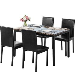 MOOSENG 5 PCs Dining Table Set, with Elegant Faux Mable Desk and 4 Upholstered PU Leather Chairs ...