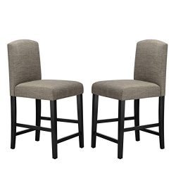 Ravenna Home Modern Counter Stool with Back, 38 Inch Height, Grey, Set of 2