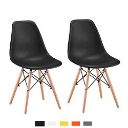 YEEFY Dining Chair Plastic Dining Room Chair Black Kitchen Chairs Set of 2