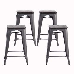 Buschman Metal Bar Stools 24″ Counter Height, Indoor/Outdoor and Stackable, Set of 4 (Dark ...