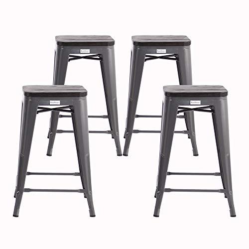 Buschman Metal Bar Stools 24″ Counter Height, Indoor/Outdoor and Stackable, Set of 4 (Dark ...