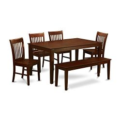 East West Furniture CANO6C-MAH-W and 4 Kitchen Chairs and Bench Dining Table, Wood Seat, Mahogan ...