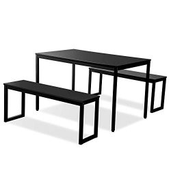 ALI VIRGO 3-Piece Modern Soho Dining Set Kitchen Tables with Two Benches, Contemporary Home Furn ...