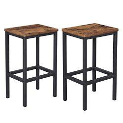 VASAGLE ALINRU Bar Stools, Set of 2 Bar Chairs, Kitchen Breakfast Bar Stools with Footrest, Indu ...