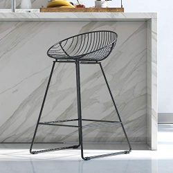 CosmoLiving Ellis Wire Counter Stool Black