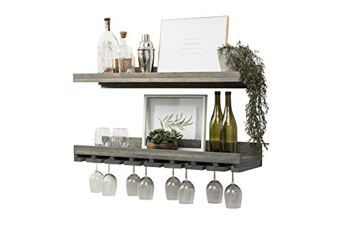 Del Hutson Designs Floating Wine Shelf and Glass Rack Set (36″ Wall Mounted) (Grey)
