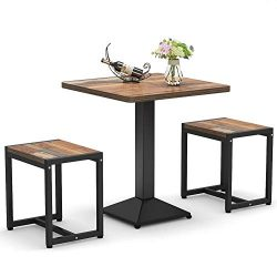 Tribesigns 3-Piece Bistro Table Set, Small Dining Table Set with Stools for Kitchen, Breakfast N ...