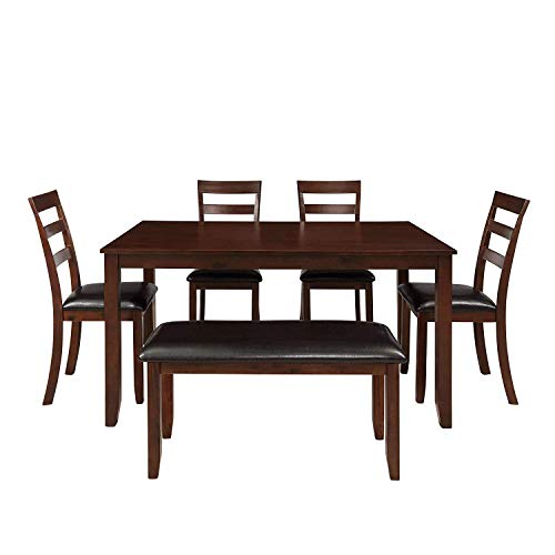 MOOSENG 6 Pieces Dining Table Set, with Wood Elegant Desk, 4 Padded High-Back Chairs, 1 Bench, P ...
