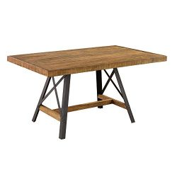 Joey 60″ Dining Table in Gingersnap with Rustic Plank Top And Metal Base, by Artum Hill
