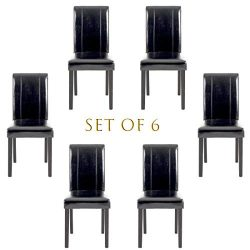 Set of 6 Modern Fabric Upholstered Dining Chairs Elegant Design Dining Room Chairs (Black Set of 6)