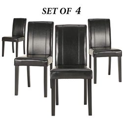 Upholstered Dining Chairs with Solid Wooden Legs, Modern Stylish PU Leather Padded Parsons Chair ...
