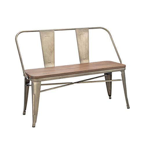 Erommy Metal Bench Industrial Mid-Century 2 Person Chair with Wood Seat,Dining Bench with Floor  ...