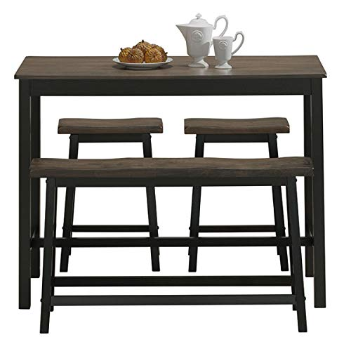 COSTWAY 4-Piece Solid Wood Dining Table Set, Counter Height Dining Furniture with One Bench and  ...