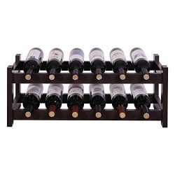 VASAGLE ULWR02BR 12 Wooden Wine Rack, 2-Tier Tabletop Bottles Storage Shelf, Espresso