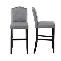 LSSBOUGHT Nailhead Barstools with Solid Wood Legs, Set of 2 (Grey)