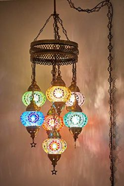 (Customizable Globes) DEMMEX 2019 Hard-Wired or PLUGIN 1,3,5,7,9 Globes Chandelier Lights Turkis ...