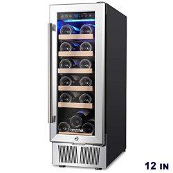 AMZCHEF 12″ Wine Cooler, Wine Refrigerator Built-in or freestanding Quiet & Constant T ...