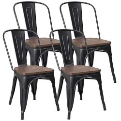 JUMMICO Metal Dining Chair Stackable Industrial Vintage Kitchen Chairs Indoor-Outdoor Bistro Caf ...