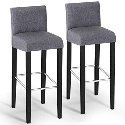 COSTWAY Bar Stool, Modern 40″ Contemporary Bar Stool with Height Fabric Padded Backrests a ...
